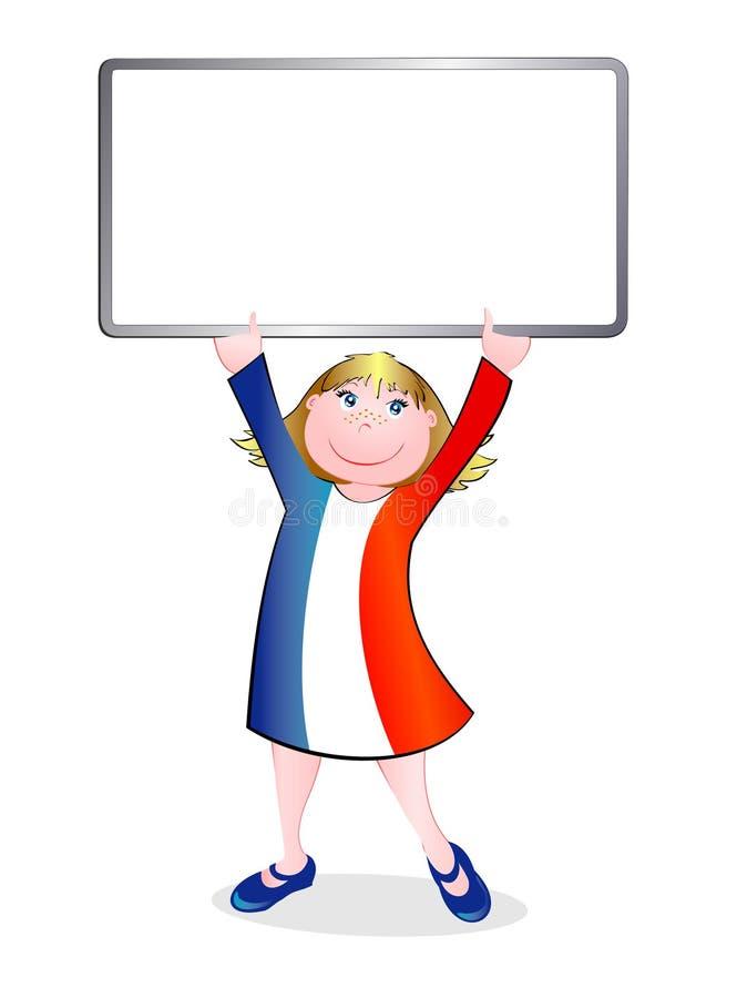 El niño se vistió en los colores del indicador francés libre illustration