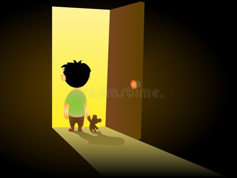 El niño solitario se coloca en la puerta ilustración del vector