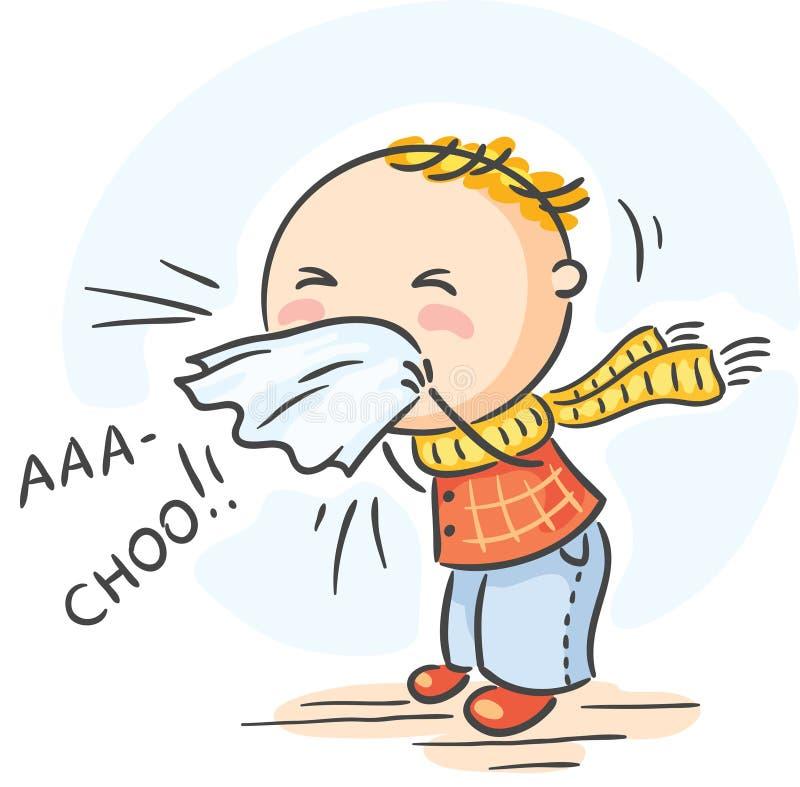 El niño tiene gripe y está estornudando stock de ilustración