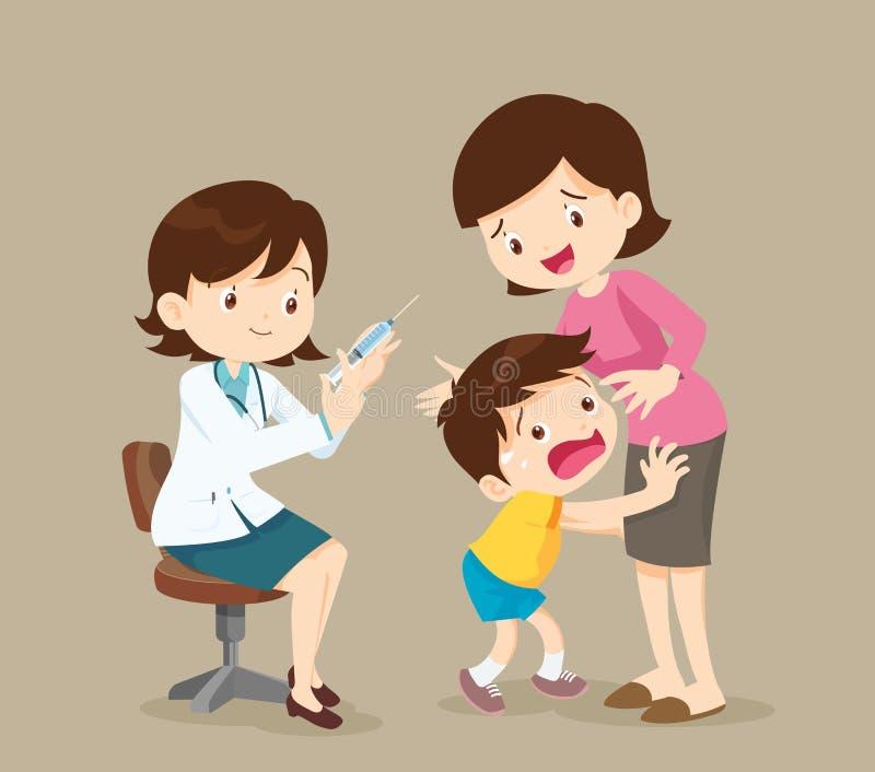 El niño tiene miedo de la inyección stock de ilustración