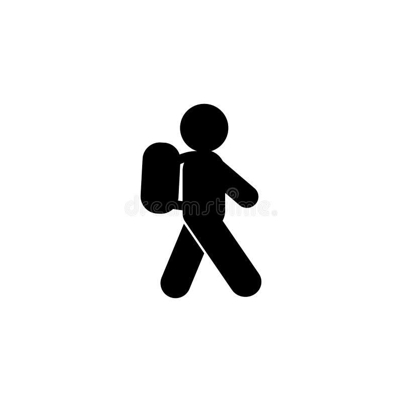 El ni?o va a ense?ar el icono del glyph Elemento del icono del ejemplo del desarrollo Las muestras y los s?mbolos se pueden utili stock de ilustración