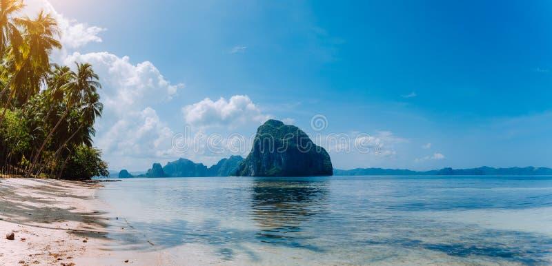 El Nido全景海岸线风景  与巨大的岩石的沙滩在海洋和高棕榈树,巴拉望岛 免版税库存图片