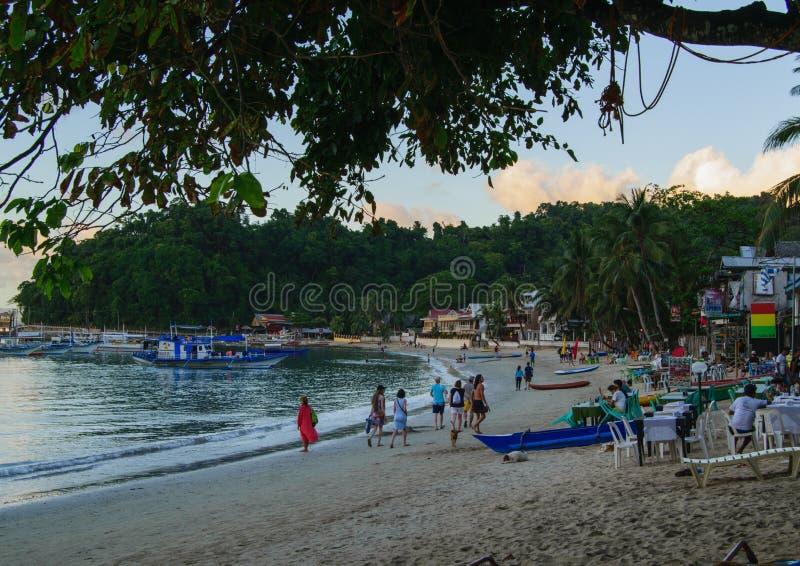 El Nido,巴拉望岛,菲律宾- 05 2018年3月:海滩 图库摄影