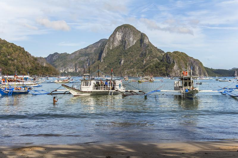El Nido harbour on sunny day in the philippines. El Nido harbour on sunny day in philippines royalty free stock photo