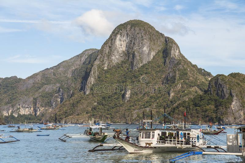 El Nido harbour on sunny day in the philippines. El Nido harbour on sunny day in philippines royalty free stock image