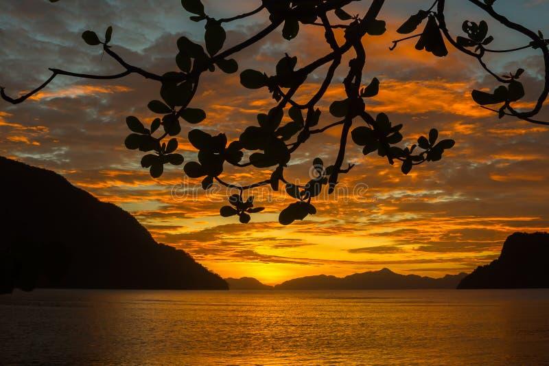 El Nido Sunset Silhouette, Philippines stock photo