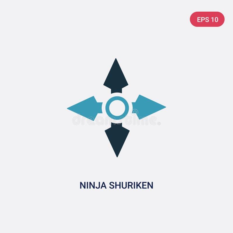 El ninja bicolor shuriken el icono del vector de deportes y del concepto de la competencia el ninja azul aislado shuriken s?mbolo libre illustration