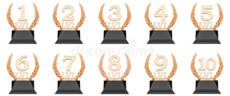 El nivel de oro del trofeo ahueca la representación 3d ilustración del vector