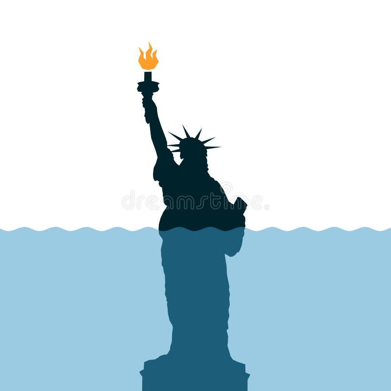 El nivel del mar está subiendo alrededor de la estatua de la libertad ilustración del vector