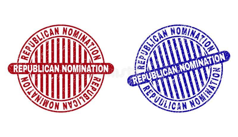 El NOMBRAMIENTO REPUBLICANO del Grunge rasguñó los sellos redondos del sello ilustración del vector