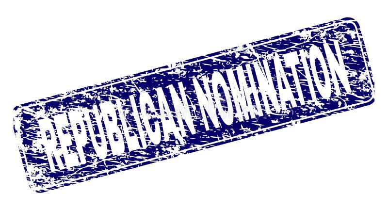 El NOMBRAMIENTO REPUBLICANO rasguñado enmarcó el sello redondeado del rectángulo stock de ilustración