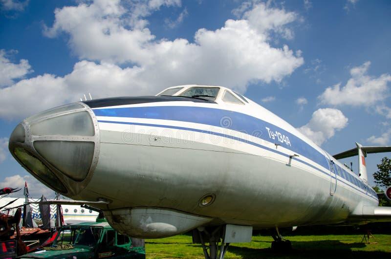 El nombre de la información de la OTAN del Tupolev Tu-134: Avión de pasajeros crujiente del jet fotografía de archivo