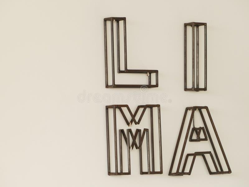El nombre de Lima hizo en metal fotos de archivo libres de regalías