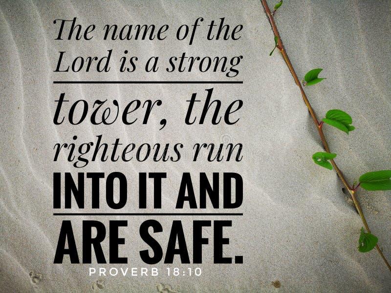 El nombre del señor es un fuerte del diseño del verso de la biblia para el cristianismo ilustración del vector