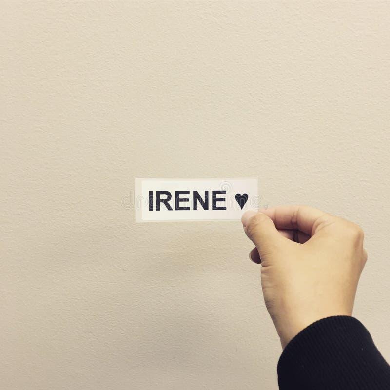 El nombre Irene foto de archivo libre de regalías