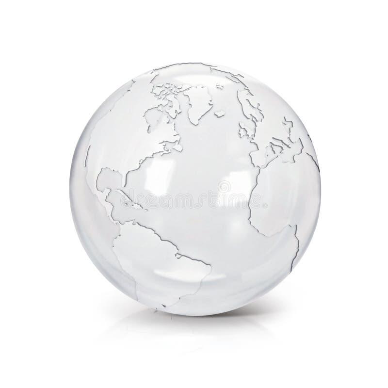 El norte de cristal claro y Suramérica del ejemplo del globo 3D trazan ilustración del vector