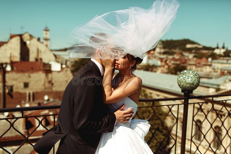 El novio besa blando a la novia mientras que el velo los cubre imagenes de archivo