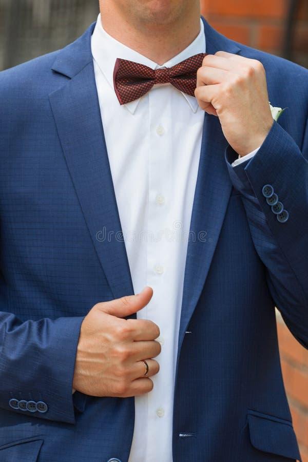 El novio elegante endereza un lazo fotografía de archivo libre de regalías