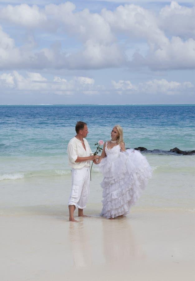 El novio y la novia en la playa tropical imagen de archivo libre de regalías