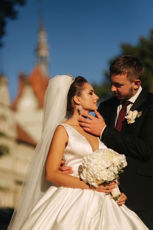 El novio y la novia se están colocando delante de castillo Ramo del control de la mujer de flor blanca en manos fotos de archivo libres de regalías