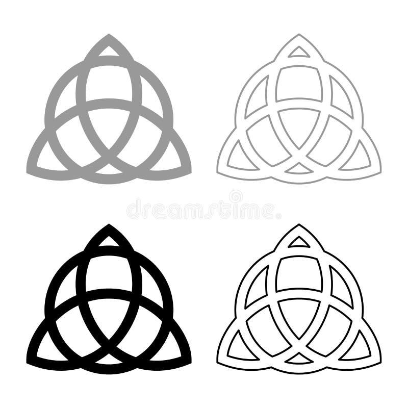 El nudo de Trikvetr con el poder del círculo del símbolo de tres vikingo tribal para el icono del nudo de la trinidad del tatuaje ilustración del vector