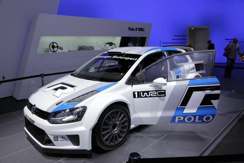 El nuevo coche de carreras del polo WRC de VW fotos de archivo libres de regalías