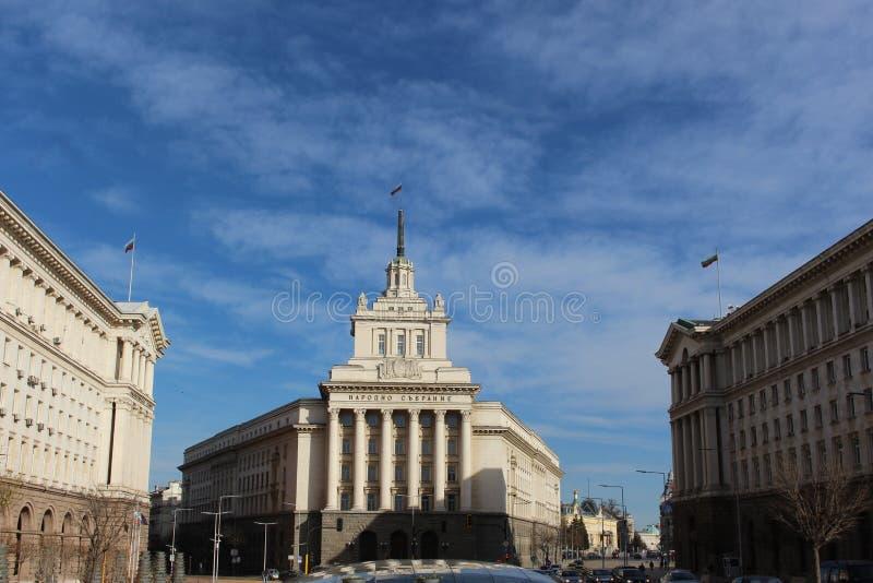 El nuevo edificio del parlamento en Bulgaria, en historia, era el partido ahora que construía en el centro de Sofía foto de archivo