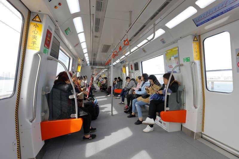 El nuevo interior del coche de subterráneo de la línea 1, adobe rgb del metro de Xiamen fotos de archivo libres de regalías