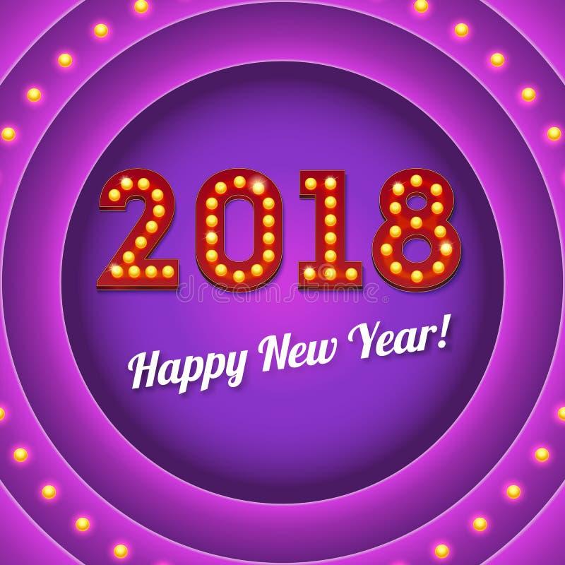 El nuevo venir 2018 en bandera retra con las bombillas con brillo ilustración 3D El texto en el estilo del casino americano stock de ilustración