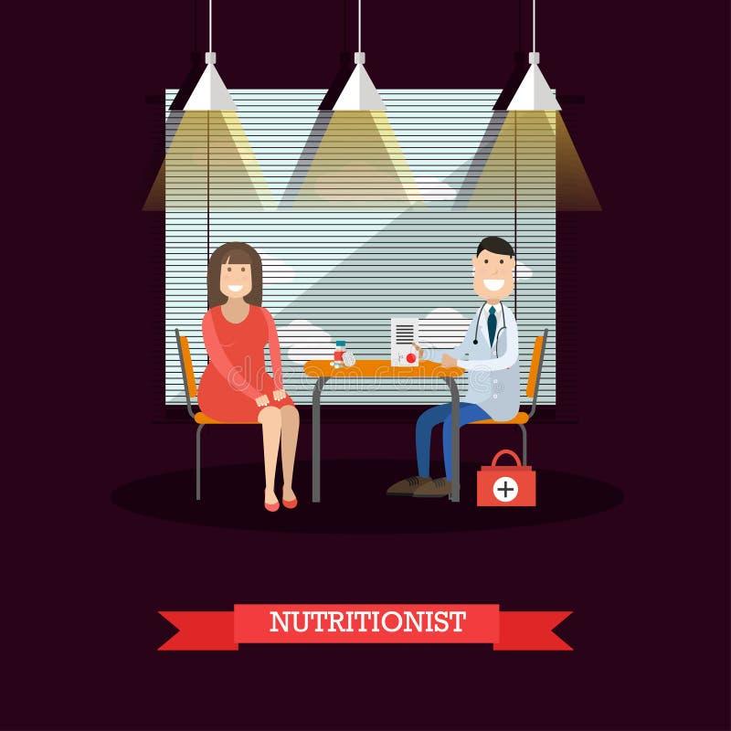 El nutricionista y el paciente vector el ejemplo en estilo plano stock de ilustración