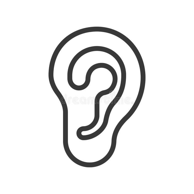 El oído, órgano humano relacionó el icono del vector del esquema ilustración del vector