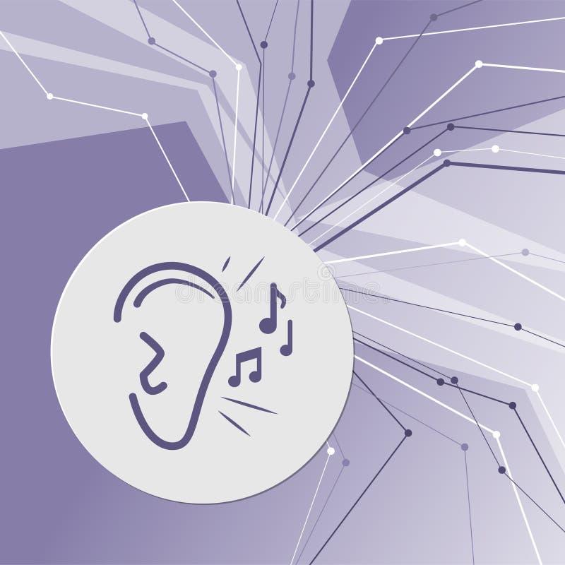 El oído escucha icono de la señal de sonido en fondo moderno abstracto púrpura Las líneas en todas las direcciones Con el sitio p stock de ilustración