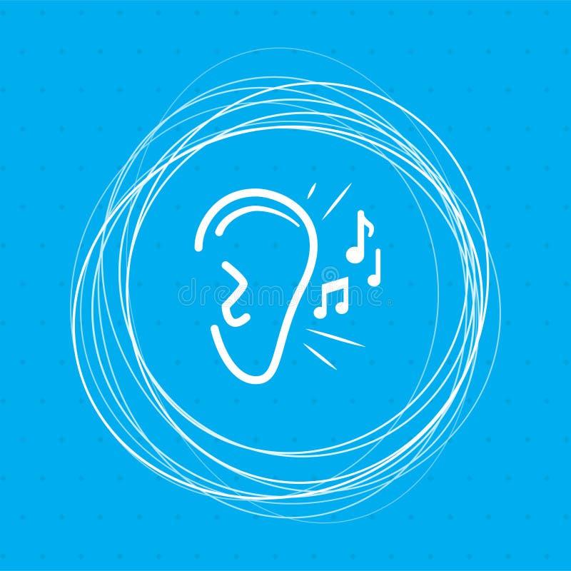 El oído escucha icono de la señal de sonido en un fondo azul con los círculos abstractos alrededor y coloca para su texto libre illustration