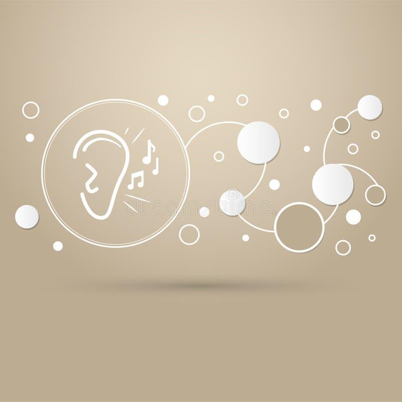 El oído escucha icono de la señal de sonido en un fondo marrón con estilo elegante y el diseño moderno infographic ilustración del vector