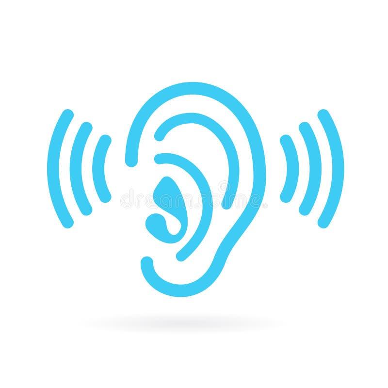El oído escucha icono del vector stock de ilustración