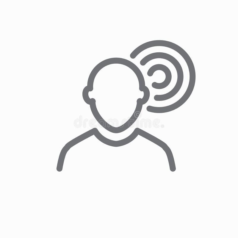 El oído y el canal de oído resumen la imagen del icono para el los de audición/que escucha stock de ilustración