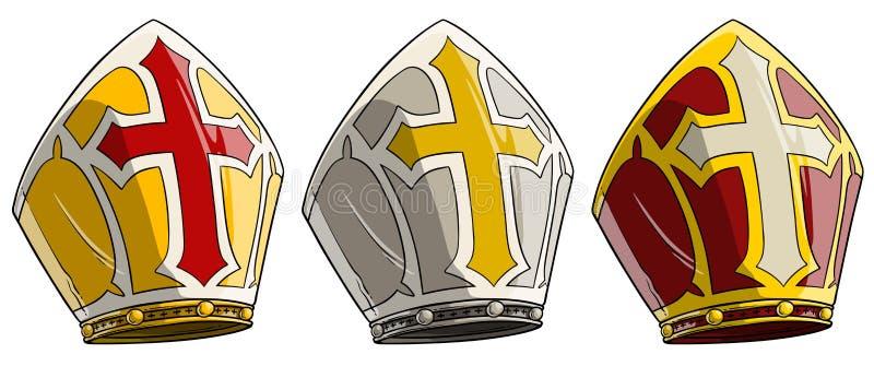 El obispo católico o el papa de la historieta junta con junta a inglete con la cruz stock de ilustración