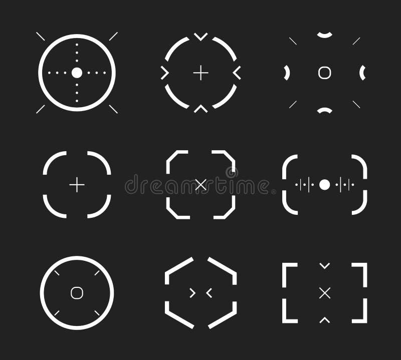 El objetivo del francotirador, diana, iconos del alcance fijó, colección moderna del videojugador Radio de tiro, objetivo, colecc stock de ilustración
