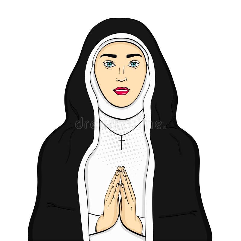 El objeto aislado en los votaress blancos del fondo, hermana de dios ruega En ropa blanco y negro E libre illustration