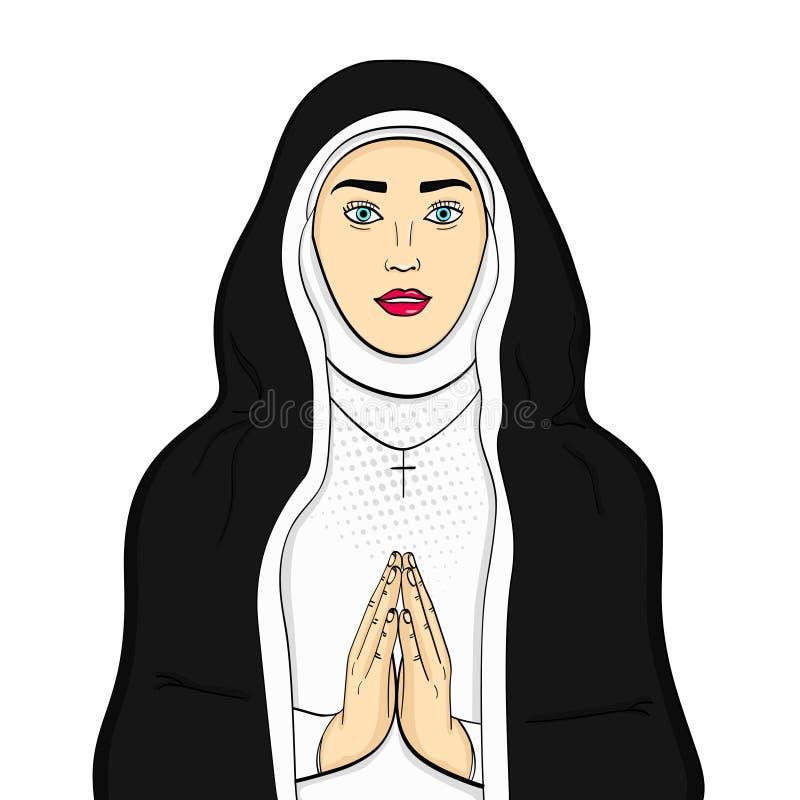 El objeto aislado en los votaress blancos del fondo, hermana de dios ruega En ropa blanco y negro Tema de la fe, vector de la muj libre illustration