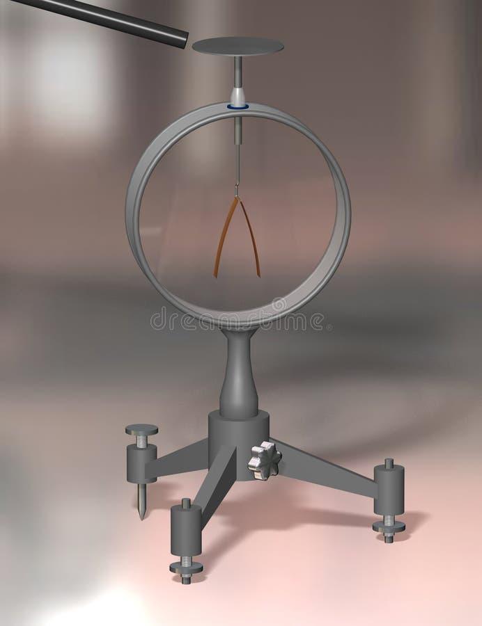 El objeto cargado y diverge electroscopio de las hojas Educación de la física ejemplo 3D en un fondo colorido ilustración del vector