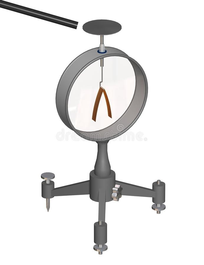 El objeto cargado y diverge electroscopio de las hojas Educación de la física ilustración 3d en un fondo blanco libre illustration