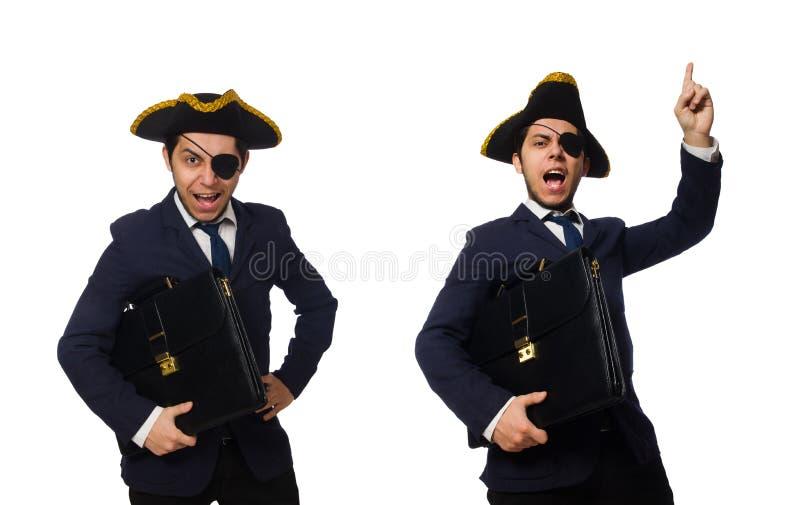 El observ? al pirata con la cartera y la espada aisladas en blanco fotografía de archivo