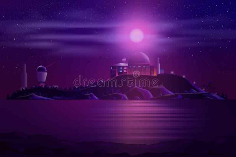 El observatorio astronómico se resume vector de la historieta libre illustration