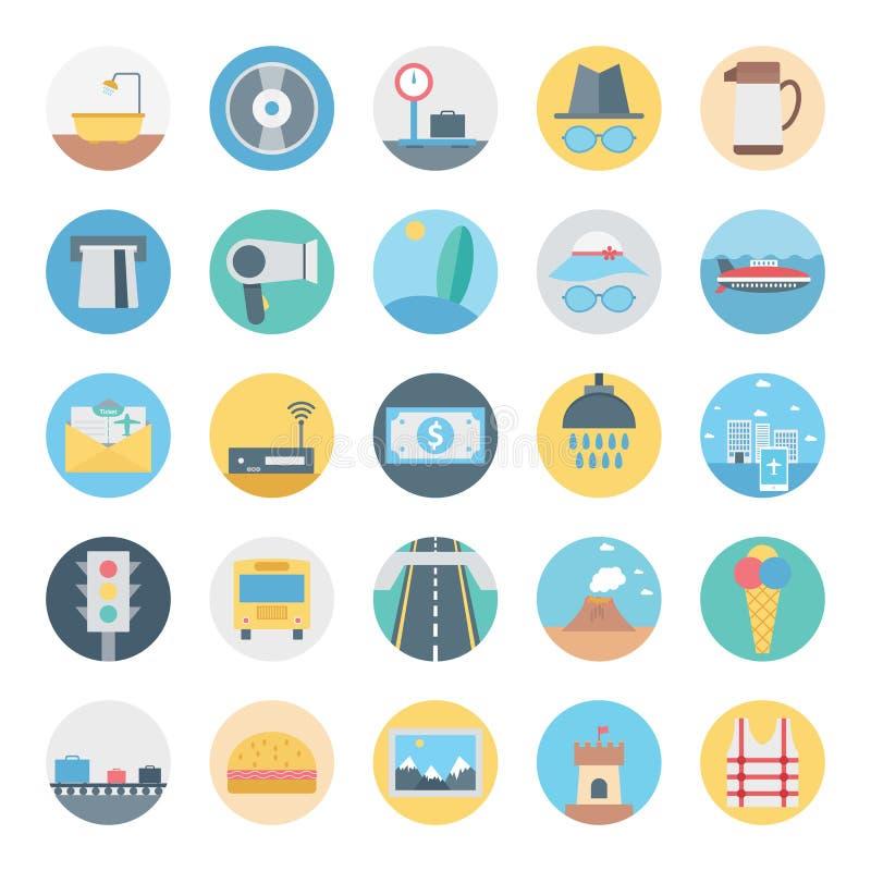 El ocio, el viaje y el icono aislado viaje del vector consisten con el camino, las señales de tráfico, el cono, el dólar, el cast libre illustration