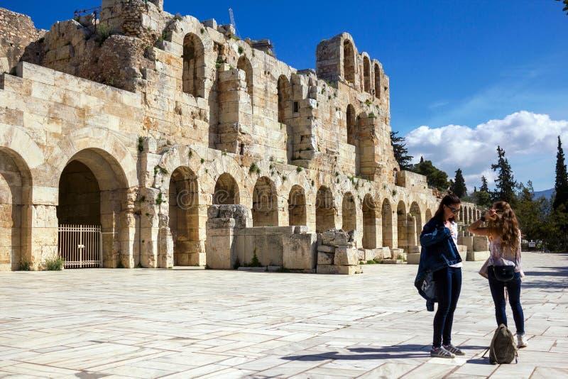 El Odeon del Atticus de Herodes, Atenas, Grecia imagenes de archivo