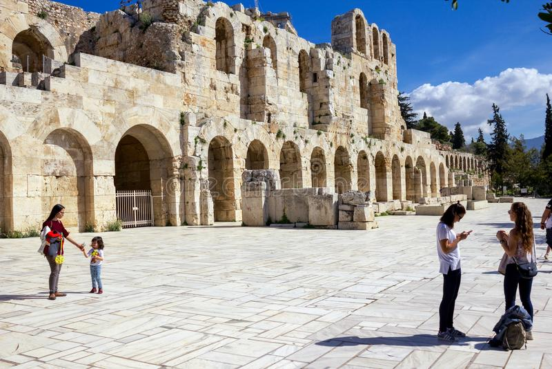 El Odeon del Atticus de Herodes, Atenas, Grecia foto de archivo