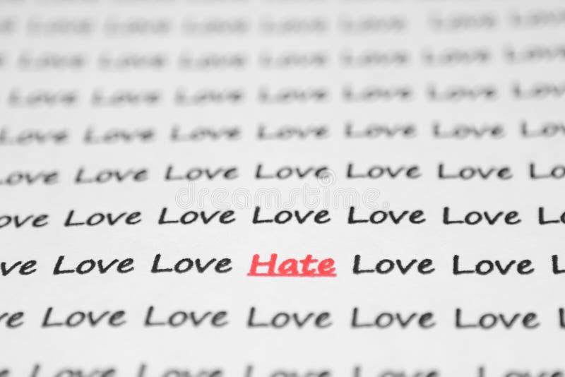 El odio de la palabra, amor escrito. fotografía de archivo libre de regalías