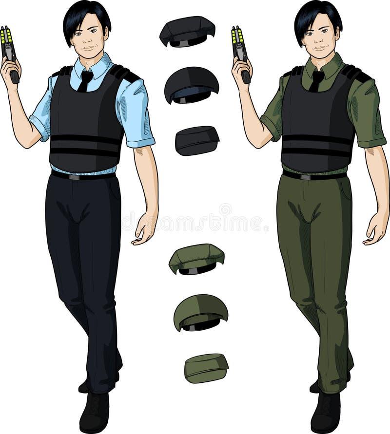 El oficial de policía de sexo masculino asiático lleva a cabo el taser ilustración del vector