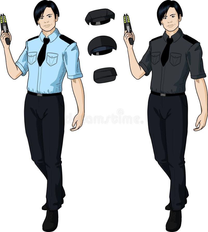 El oficial de policía de sexo masculino asiático lleva a cabo el taser stock de ilustración